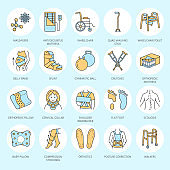 Orthopedic, trauma rehabilitation line icons. Crutches, orthopedics mattress pillow, cervical collar, walkers and other medical rehab goods. Health care thin linear signs for clinic and hospital