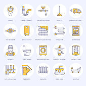 Plumbing service vector flat line icons. House bathroom equipment, faucet, toilet, pipeline, washing machine, dishwasher. Plumber repair illustration, thin colored signs for handyman services