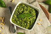 Homemade Italian Green Basil Pesto Sauce