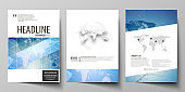 The vector illustration of editable layout of three A4 format modern covers design templates for brochure, magazine, flyer, booklet. World map on blue, geometric technology design, polygonal texture