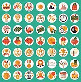 Set of 49 Flat Vector Icon Illustration Success Business, Finance and Sales