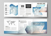 The minimalistic vector illustration of editable layout. Two modern creative covers design templates for square brochure or flyer. Polygonal geometric linear texture. Global network, dig data concept
