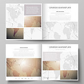 The minimalistic vector illustration of the editable layout of two covers templates for square design brochure, flyer, booklet. Global network connections, technology background with world map