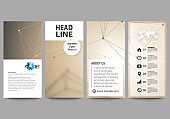Flyers set, modern banners. Business templates. Cover design template, abstract vector layouts. Technology, science, medical concept. Golden dots and lines, cybernetic digital style. Lines plexus