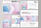 Social media posts set. Business templates. Easy editable abstract flat template, vector layouts in popular formats. Sweet pink and blue decoration, pretty romantic design, cute candy background