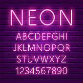 Glowing ultra violet neon character font
