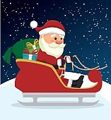 santa claus in carriage  isolated icon desig