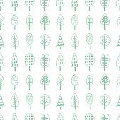 Forest trees nordic seamless pattern
