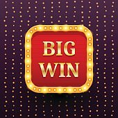 Big Win retro banner template with lightbulb glowing on garland lights