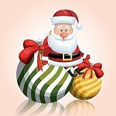 merry chrsitmas santa claus with two ball ribbon