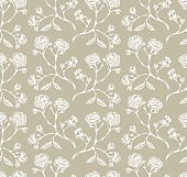 Vintage vector rose seamless pattern