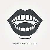 Silhouette icon mouth with teeth
