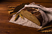 Cut dark bread