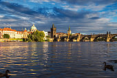 Vltava river in Prague, Czech Republic at the sunset
