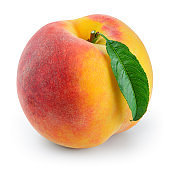 Peach isolated. Peach with leaf on white. With clipping path.