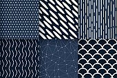 Seamless patterns geometric minimalist vector