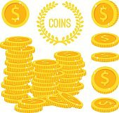 Coins stacks, money gold cash pile