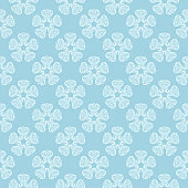 White and blue floral ornament. Seamless pattern