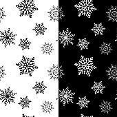 Snowflakes seamless patterns. Black and white backgrounds