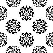 Seamless pattern with wallpaper ornaments. Black and white