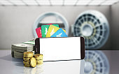 mobile banking concept mobile phone with dollar stacks coins and credit cards 3d render on white glass background