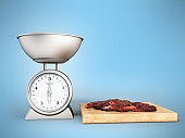 kitchen scale front metal 3d rendering on white background