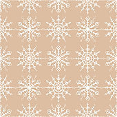 Snowflakes seamless pattern. Beige and white background with christmas elements