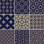 Geometric and vintage set of golden blue seamless patterns for design