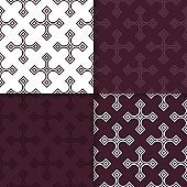 Geometric backgrounds. Set of maroon seamless patterns