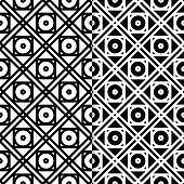 Set of geometric black and white seamless patterns