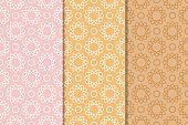 Geometric backgrounds. Set of colored seamless patterns