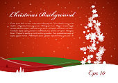 Christmas vector background with tree from snowflakes in red and green color