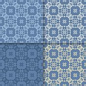 Wallpaper set of blue seamless patterns with floral ornaments