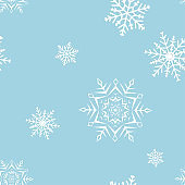 Snowflakes seamless pattern. White and blue background with christmas elements