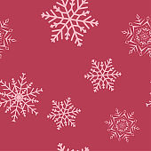Snowflakes seamless pattern. Cherry red background with christmas elements