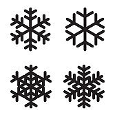 Set of silhouettes snowflakes on White. Vector Illustration