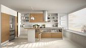 Blur background interior design, modern wooden kitchen with wooden details and panoramic window, white minimalistic, sunset sunrise panorama