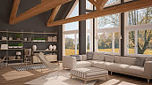 Living room of luxury eco house, parquet floor and wooden roof trusses, panoramic window on autumn meadow, modern white and gray interior design