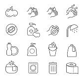 Hygiene line icons. Cleaning and clean vector silhouette signs for bathroom toilet