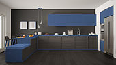 Classic modern kitchen with wooden details and parquet floor, minimalist gray and blue interior design