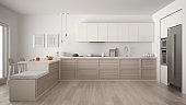 Classic modern kitchen with wooden details and parquet floor, minimalist white interior design