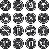 Flight icons. Black airport icon set isolated on white background