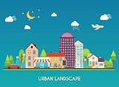 Urban landscape. Modern buildings and suburb with private houses. Flat city. Design style modern vector illustration concept.