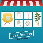Flat design concept online shopping furniture and e-commerce. Icons for mobile marketing. Vector illustration.