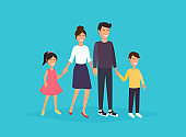 Father, mother, son and daughter together. Happy family. Flat design modern vector illustration concept.