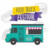 Food truck festival brochure. Flat design style modern vector illustration concept.