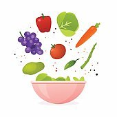 Bowl of fresh vegetable salad, healthy food. Flat design style modern vector illustration concept.