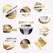 Set of gold sale banners design, discounts  and special offer. shopping background for business promotion. Vector illustration.