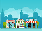 Urban landscape book shop, bakery, restaurant.  Flat design modern vector illustration concept.