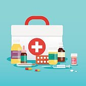 Medical concept. Pills and bottles. Flat design style modern vector illustration concept.